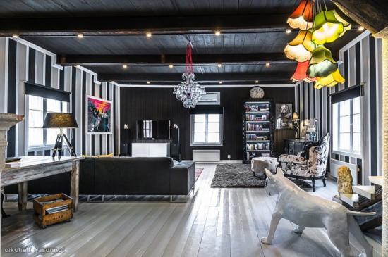 Decoration eclectique maison en rondins