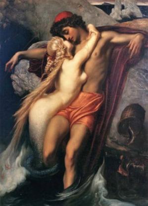 Frederick leighton 1858 le pecheur et la sirene