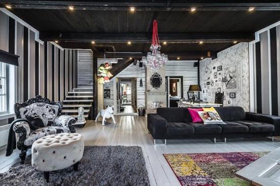 Interieur art deco maison en bois