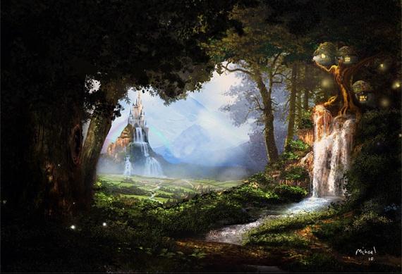 Paysages fantastiques tree village img
